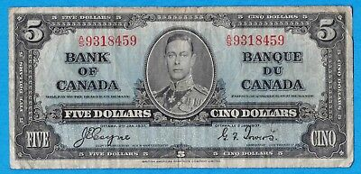 $5 1937 Bank of Canada Note Coyne-Towers Tough A/S Prefix BC-23c - Very Good