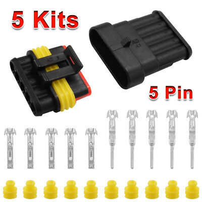 5Kit Set Car 5 Pin Way Superseal Waterproof Electrical Wire Connector Plug MA381
