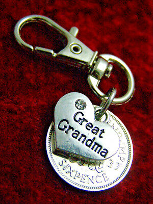 Great Grandma Birthday Gift 1920 1967 Lucky Sixpence Keyring 90th 80th 75th 70th