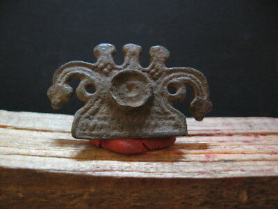 2 DRAGON HEADS AMULET ANCIENT CELTIC BRONZE OPENWORK TALISMAN 500-200 B.C. 37 mm