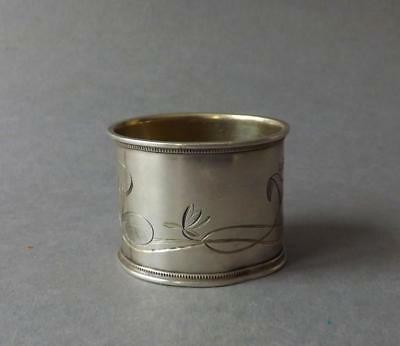 Antique Ornate Russian Silver 84 Napking Ring Floral design. Signed!