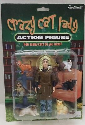 2004 Accoutrements Crazy Cat Lady Action Figure with Six Cats