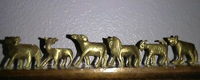 Lot of 6 Vintage Small Brass Animals