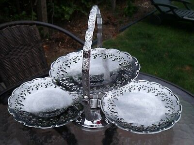 Engraved Silver Plated Queen Anne FOLDING THREE TIER CAKE STAND c1950s/60s
