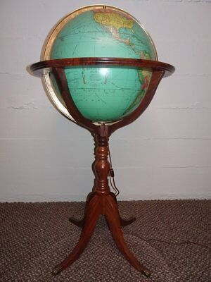 Vintage Rand McNally Terrestrial Lighted Floor Globe On Full Mount Walnut Stand
