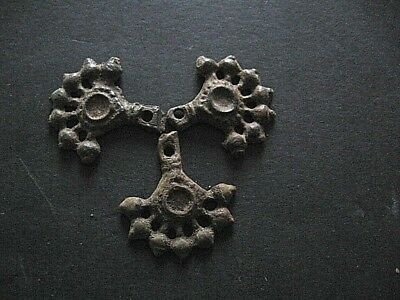 3 Parts Clover Form Solar Talisman Ancient Celtic Bronze Amulet 400-200 B.c.