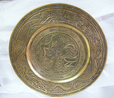 Heavy Cast Decorated CHINESE Brass Dragon Plate / Plaque Cast Mark on Back 975gm