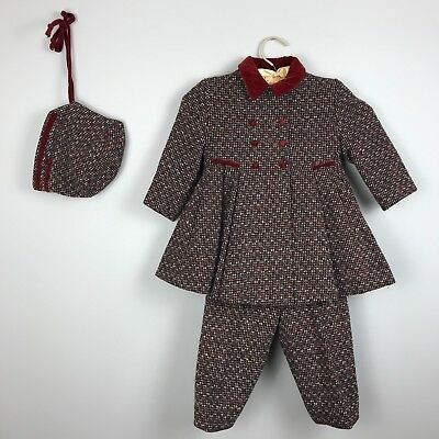 VTG 50s Little Girls 3-pc Wool Coat Set Red Velvet Trim Bonnet Pants Toddler 3T
