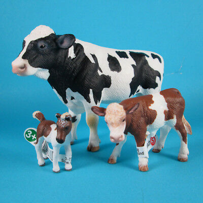 Schleich Farm World Collection Lot 3 Collectible Animals - Cow, Calf + Foal Toys
