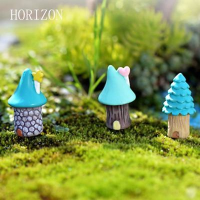 3pcs/Set Vintage Blue House Miniature Mini Craft Fairy Garden Micro Landscaping