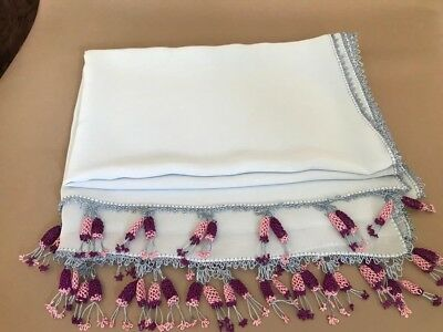 "Hand Made Turkish Needle Lace Decorative Scarf or Fancy Runner 20""x60"""