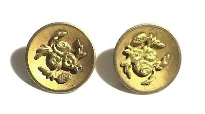Antique Victorian Pair of Gilt Brass Floral Cupped Buttons