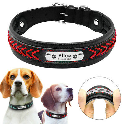 Personalised Dog Collar Braided Genuine Leather Large Dogs Engraved TD Collars