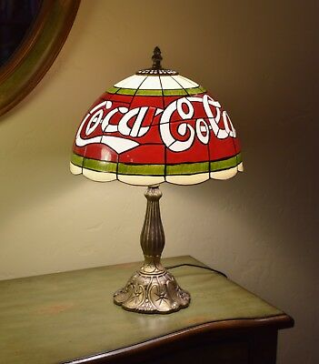 Coca Cola Table Lamp Vintage Tiffany Style Stained Gl Look