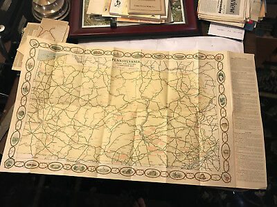 1930s Map of Pennsylvania Early Gettysburg Photos Great Graphics Illustrations