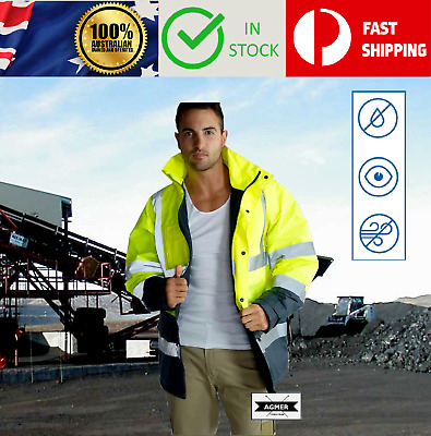 Hi Vis Safety Waterproof Fleece Lined Storm Jacket Coat Reflective Tape Night