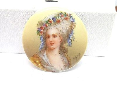 Amazing Large Old Hand Painted Signed Porcelain Button Victorian Woman Limoges