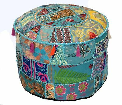 Indian Purple Pouffe Small Seat Ottoman Pouf Cover Vintage Patchwork Foot Stool