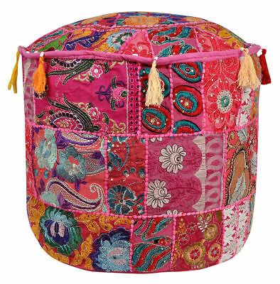 Indian Vintage Pouf Ottoman Foot Stool Cover Round Patchwork Embroidered Pouffe