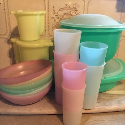 Bulk Lot Of Vintage Tupperware Containers Bowls Cups Picnic Jugs