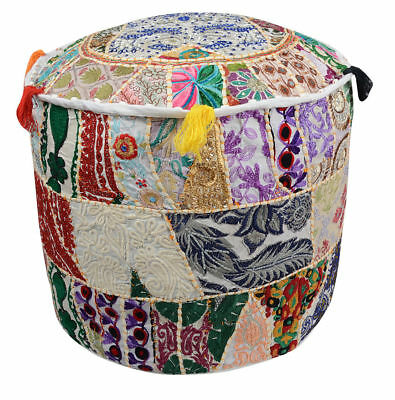 Pouf Ottoman Indian Village Vintage Patchwork Foot Stool Kantha Pouf Cover Throw