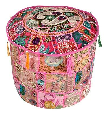 Indian Handmade Round Pouffe Cover Vintage Cotton Footstool Ottoman Black