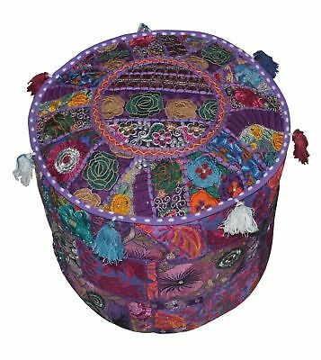 Patchwork Foot Stool Small Vintage Pouf Ottoman Kantha Pouf Cover Village Throw