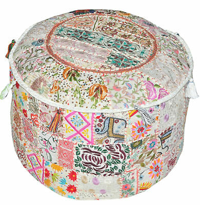 Old Patchwork Foot Stool Kantha Pouffe Covers Throw Vintage Large Pouf Ottoman
