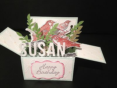 Handmade card, 3D Birthday Card in a box - Birds,PERSONALISED