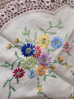 Vintage Embroidery hand sewn 3 pieces