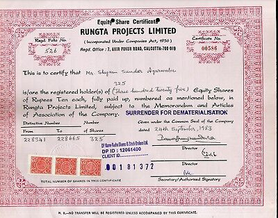 India 1983's Rungta Project Ltd. Share Certificate + Revenue Stamp # FB13