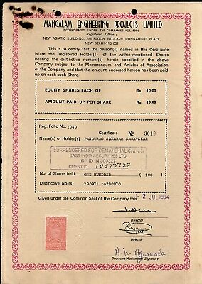 India 1984's Mangalam Engineering Project Ltd. Share Certificate + Revenue # FA3