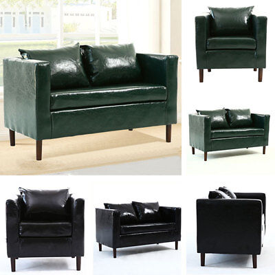 Accent Contemporary Tub Chair Armchair 1/2 Seater Lobby Living Room Leather Sofa