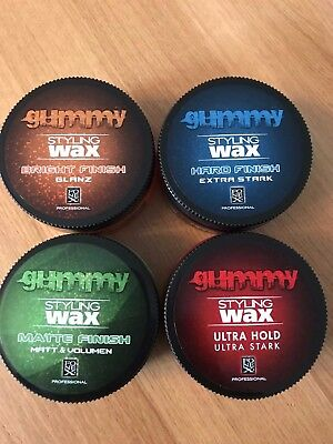 GUMMY STYLING WAX. HARD FINISH, BRIGHT FINISH,ULTRA HOLD,MATTE FINISH 4 X 150 Ml