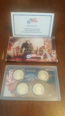 2009 US Mint Presidential $1 Coin Proof Dollar Set 4 Coins Coa Free Shipping 800