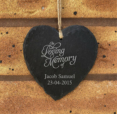 Personalised In Loving Memory Hanging Heart Slate Memorial Grave Plaque Any Name