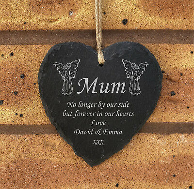Personalised Hanging Heart Slate Memorial Grave Plaque - Angel Design - Mum Dad