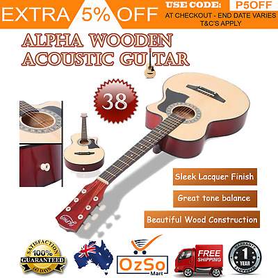 Alpha 38 Inch Wooden Acoustic Guitar Set - Natural Student Beginner Maple Wood