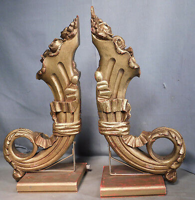 Pair Antique Carved Gilded Wood Corbels Brackets Shelf CORNUCOPIA Roses French