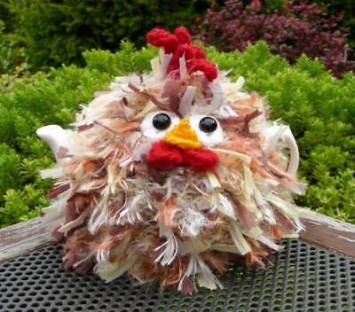 Hand Knitted Fluffy Chicken Tea Cosy – for small 2 cup teapot