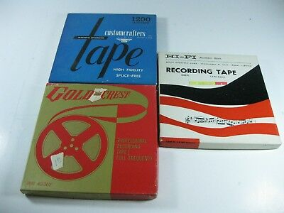Lot of 3- Used Pre-Recorded Magnetic Tape, 7 Inch Various Brands