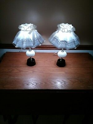 Beautiful Vintage Pair Of Milk Glass Lamps, Push Button On/off Comes With Shades
