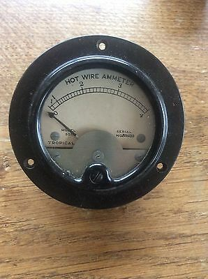 Vintage STEAMPUNK Industrial Machine Age Bakelite  Hot Wire AmMeter Dial 13