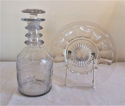Early 19th Century Cut Glass Three Ring Decanter with Mushroom Stopper