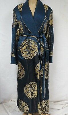 Vintage 40s 50s Embroidered Quilted Robe Kimono Wrap Dragon Gold Asian Motif