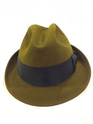 2d1f3b377c786 Vintage 60s Royal Stetson dark brown olive Whippet-style fedora Size 7 Hat