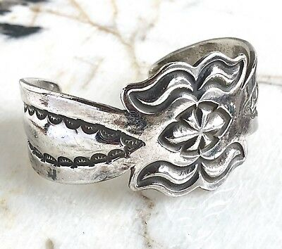 Early Vintage Navajo Tooled Sterling Silver Sand Cast Cuff Bracelet 41 Grams!