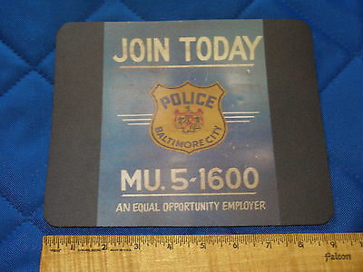 New Mouse Pad 60's Baltimore City Maryland Police Recruitment Sign Badge Display