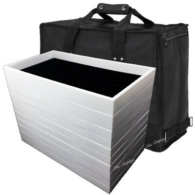 PREMIUM JEWELRY CASE CARRYING CASE  SALESMAN TRAVEL CASE w/ (11) TRAYS & LINERS