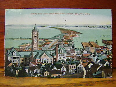 Vintage 1908 POSTCARD - Bird's Eye View showing Minnesota Point, Duluth, Minn/MN